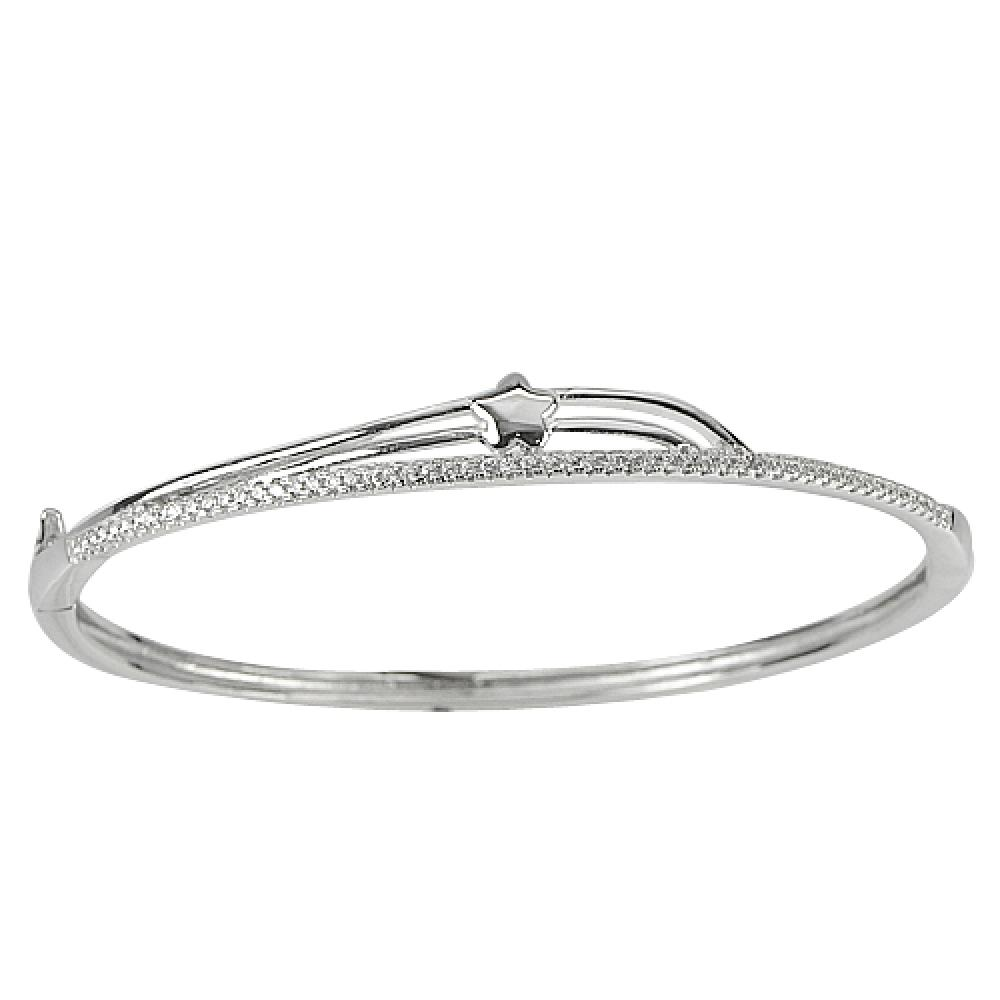 30.00 G. 3 Pcs. Star Diameter 62 x 56 Mm. 925 Sterling Silver Jewelry Bangle