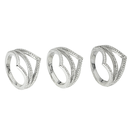 13.52 G. 3 Pcs. Wholesale Round White CZ Real 925 Sterling Silver Ring Size 7