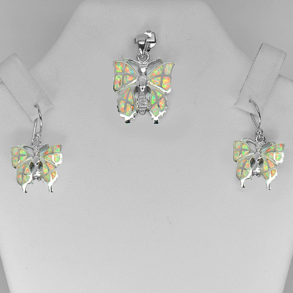 11.51 G. Created Opal 925 Sterling Silver Sets Butterfly Pendant And Earrings