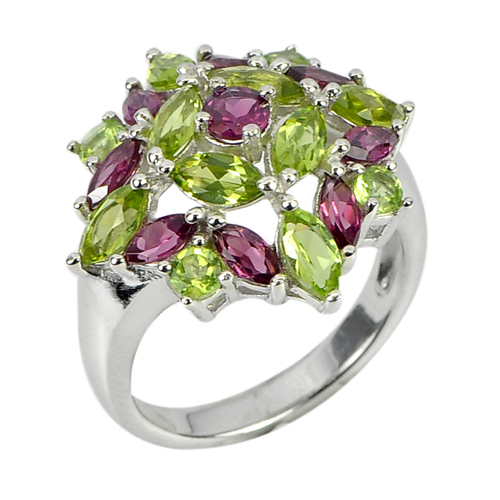 Natural Rhodolite Garnet Peridot Real 925 Sterling Silver Beautiful Ring Size 8