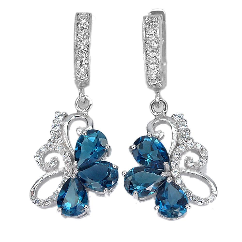 6.41 G. Pear Natural Gems London Blue Topaz Real 925 Sterling Silver Earrings