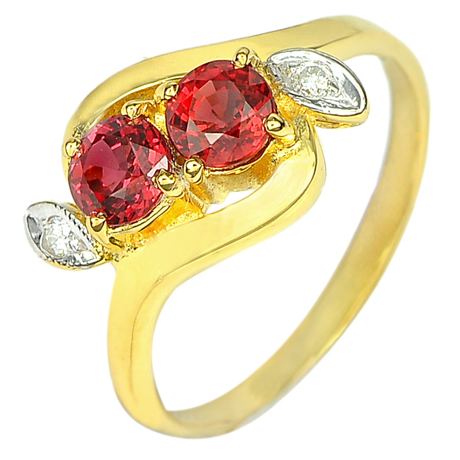 1.14 Ct. Natural Gem Red Sapphire with Diamond 18K Solid Gold Ring Size 6.5