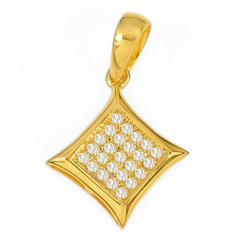 0.73 G. Natural White Diamond 10K Solid Gold Pendant