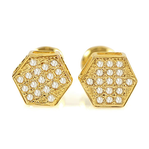 0.84 G. Beautiful Natural Loose Diamond 10K Solid Gold Earring