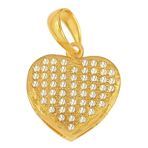 0.98 G. Beautiful Natural Loose Diamond 10K Solid Gold Heart Pendant