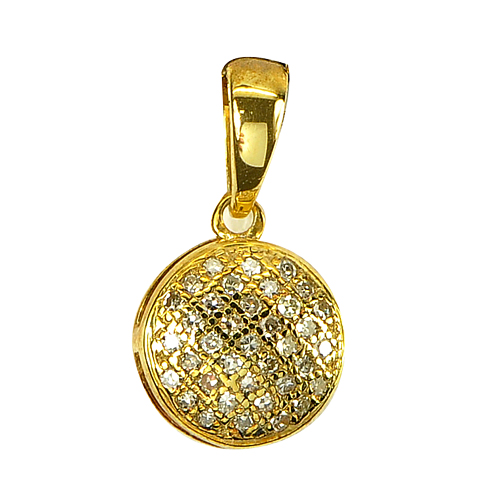 0.61 G. Natural White Diamond Sterling Silver Gold Plate Pendant