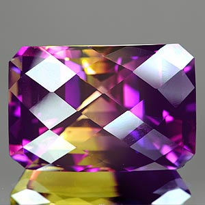 40.56 Ct. Clean Hydrothermal Bi Color Ametrine Octagon Checkerboard Unheated