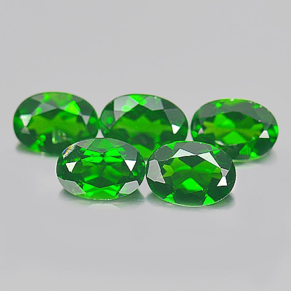 Unheated 4.03 Ct. 5 Pcs. Good Oval Natural Green Chrome Diopside