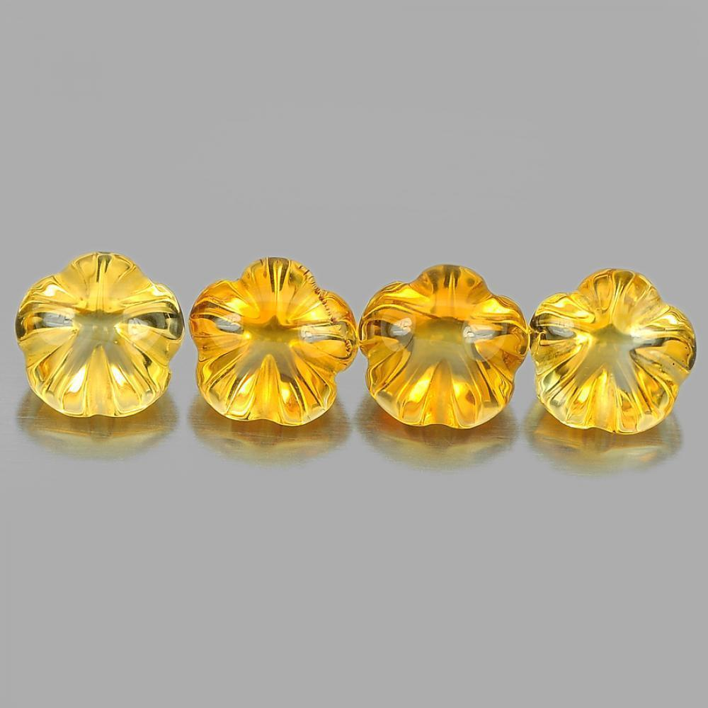 Unheated 8.33 Ct. 4 Pcs. Natural Yellow Citrine Flower Carving From Brazil