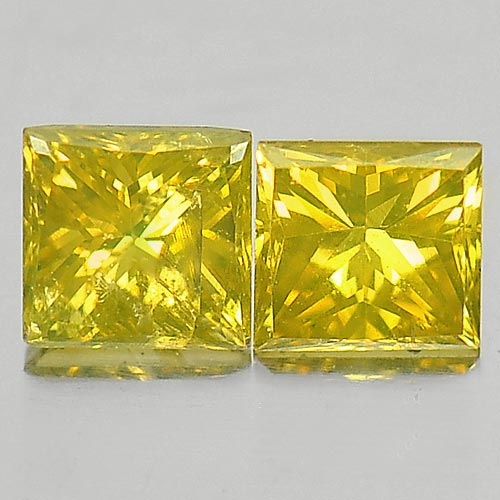 0.28 Ct. 2 Pcs. Square Princess Cut Natural Yellow Loose Diamond Belgium
