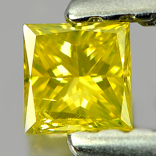 0.12 Ct. Lovely Square Princess Cut Natural Yellow Loose Diamond