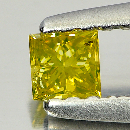 0.13 Ct. Lovely Square Princess Cut Natural Yellow Loose Diamond