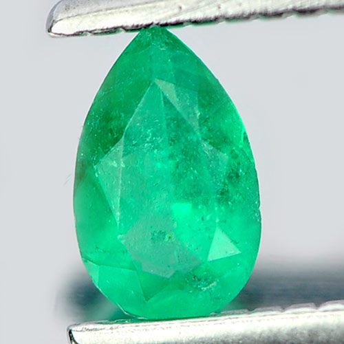 0.19 Ct. Natural Green Emerald Gem Pear Shape Unheated