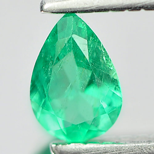0.18 Ct. Natural Green Emerald Gemstone Pear Shape Unheated