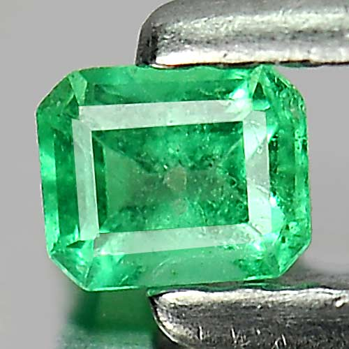 0.13 Ct. Octagon Shape Natural Gemstone Green Emerald Unheated