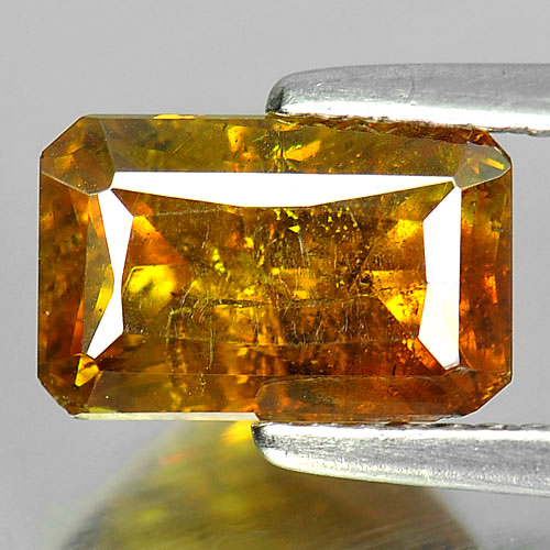 Certified 2.38 Ct. Good Octagon Natural Gem Yellow Sphalerite Unheated