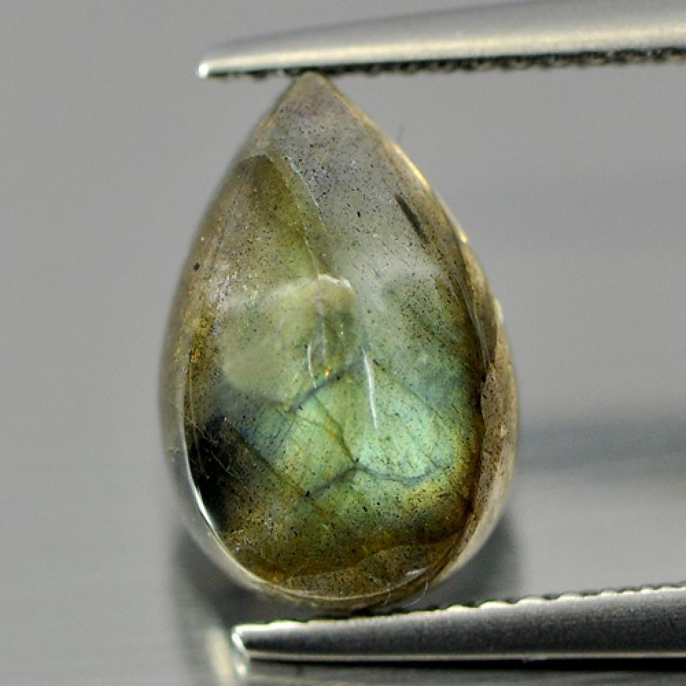 3.25 Ct. Pear Cab Good Multi Color Natural Labradorite Gem Unheated