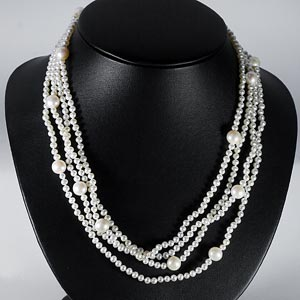 235.50 Ct. Amazing Natural White Pearl Strands 78 Inch