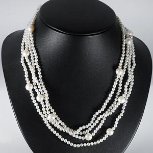 254.10 Ct. Lovely Natural White Pearl Strands 78 Inch