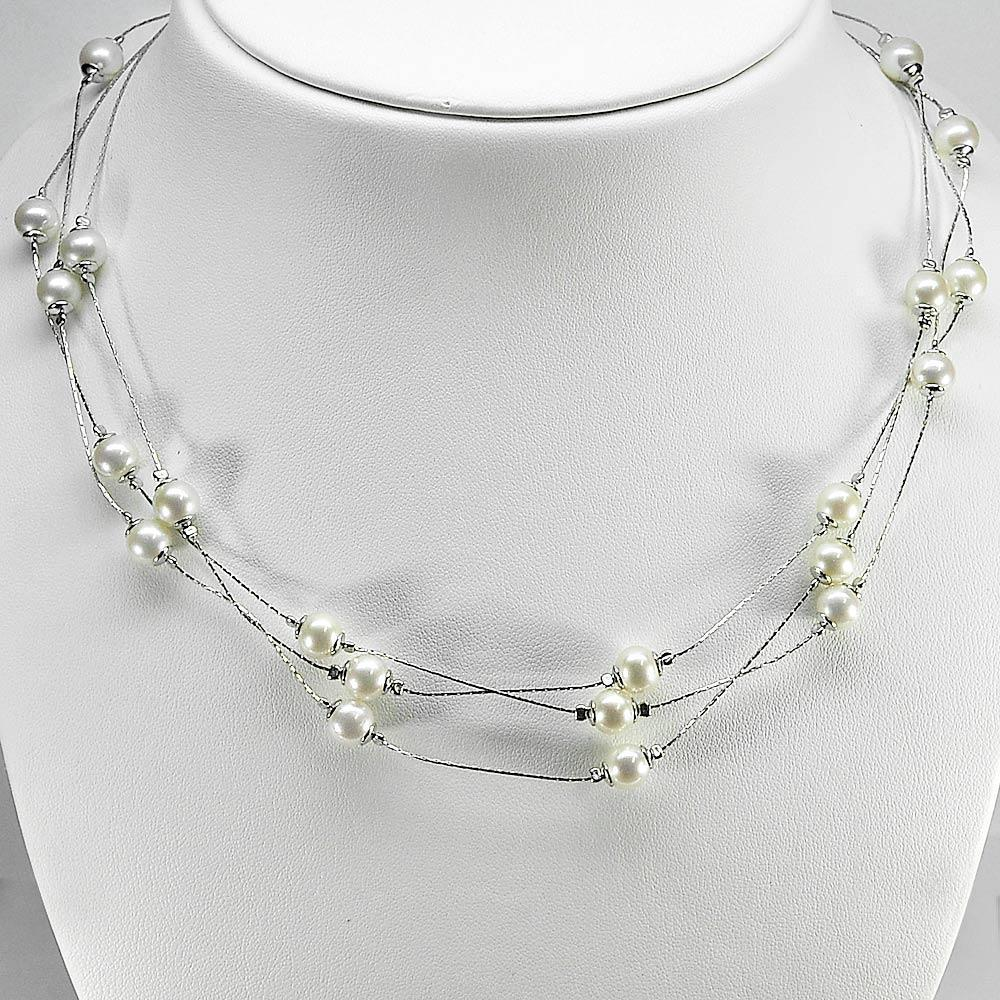 Length 16 Inch. 15.64 G. Natural White Pearl Sterling Silver Necklace