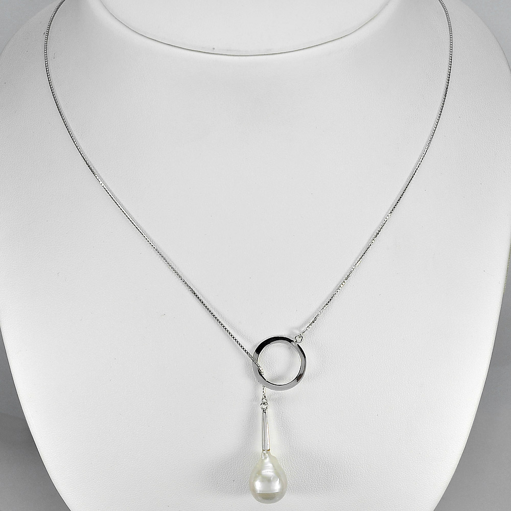 5.81 G. Natural White Pearl Sterling Silver Necklace Length 20 Inch.