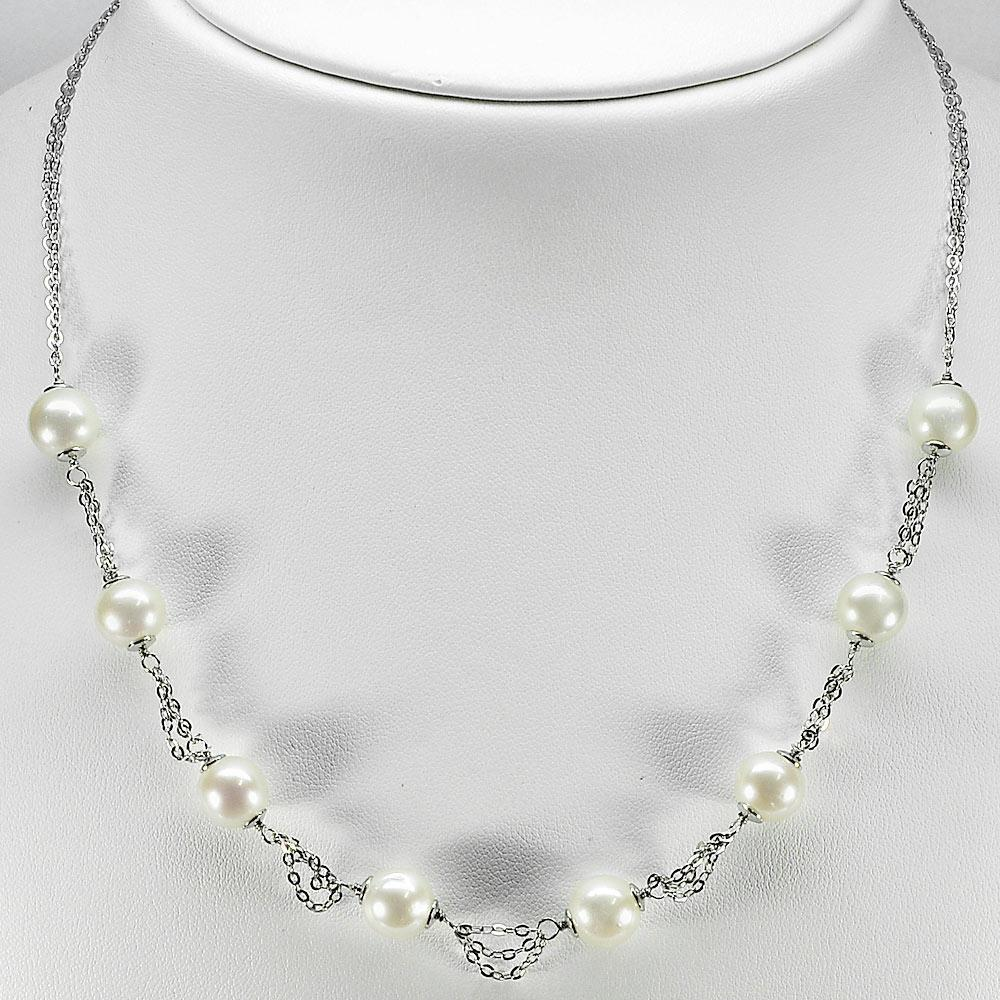 Length 18 Inch. 12.53 G. Beauty Natural White Pearl Sterling Silver Necklace