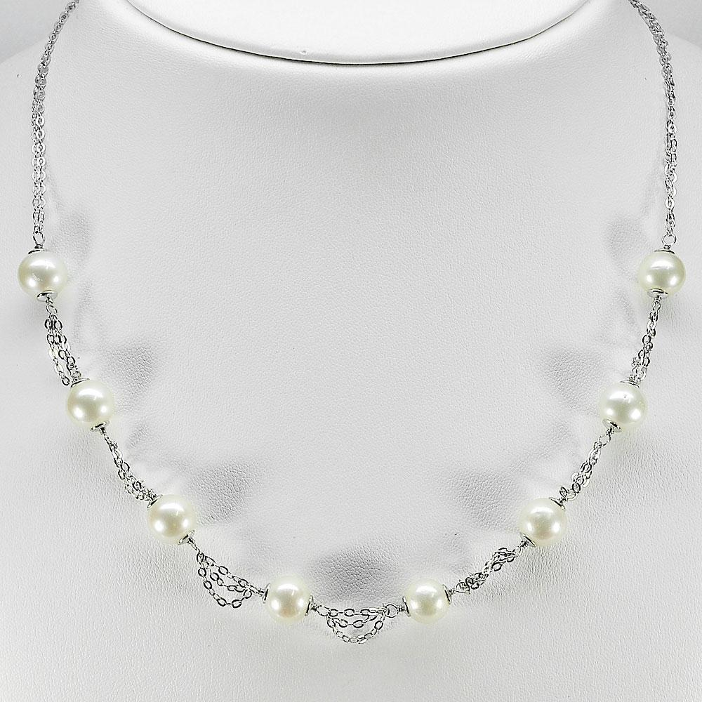 12.22 G. Sterling Silver Necklace Length 18 Inch. Natural White Pearl