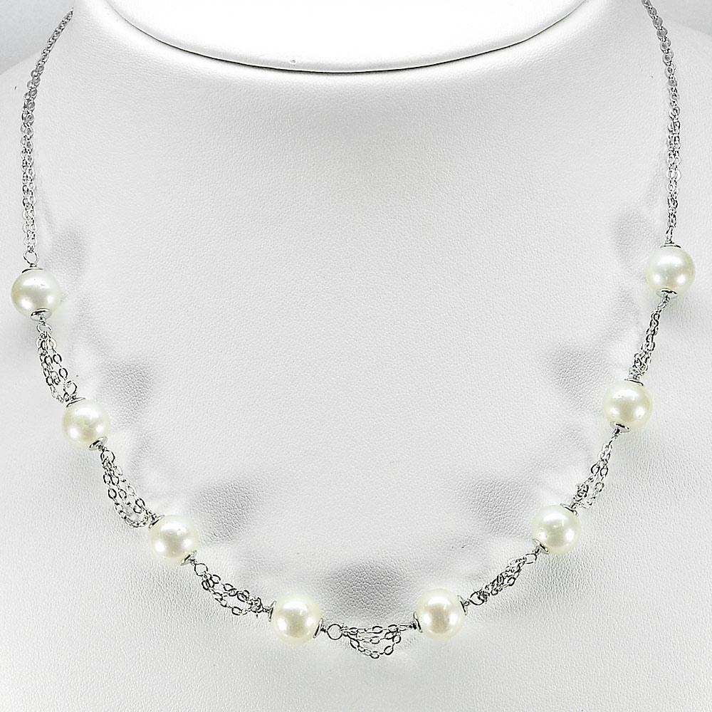 12.34 G. Natural White Pearl Sterling Silver Necklace Length 20 Inch.