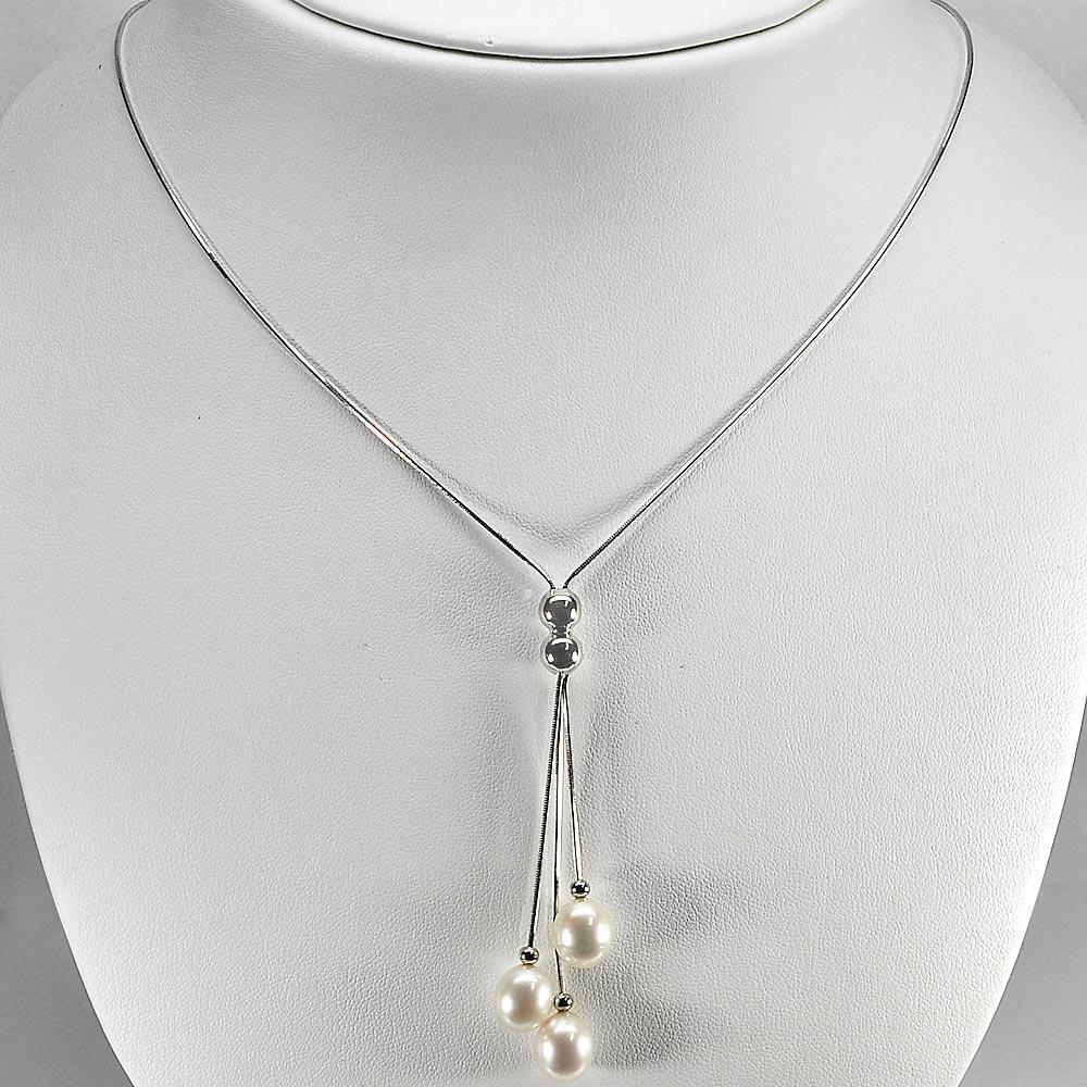 7.27 G. Vivid Natural White Pearl Sterling Silver Necklace Length 18 Inch.