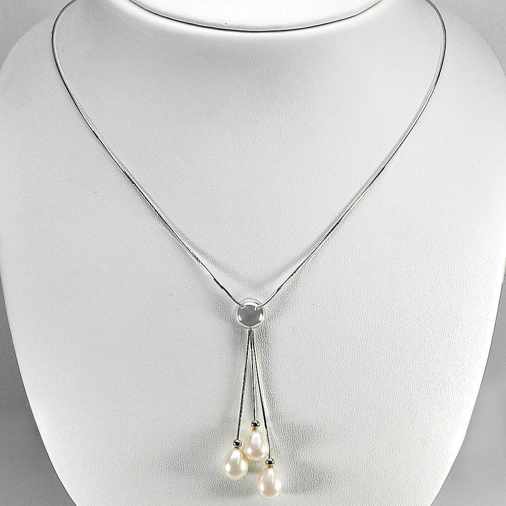 6.48 G. Length 20 Inch.Natural White Pearl Silver Jewelry Necklace