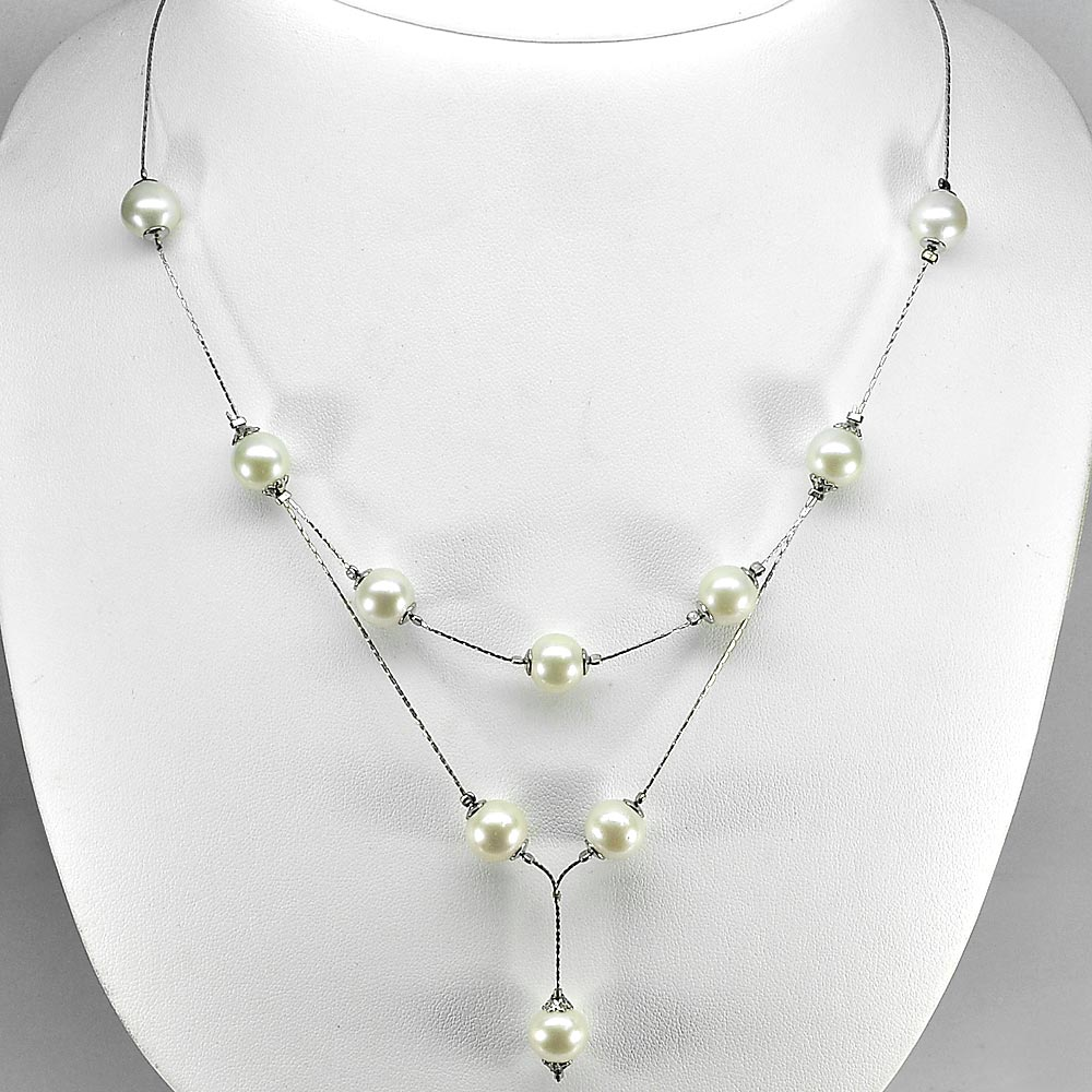 Natural White Pearl 12.46 G. Lovely Silver Jewelry Necklace Length 21 Inch.