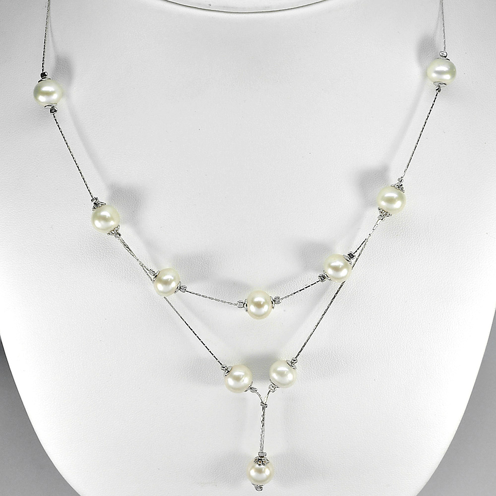 11.72 G. Wonderful Natural White Pearl Silver Necklace Length 20 Inch.