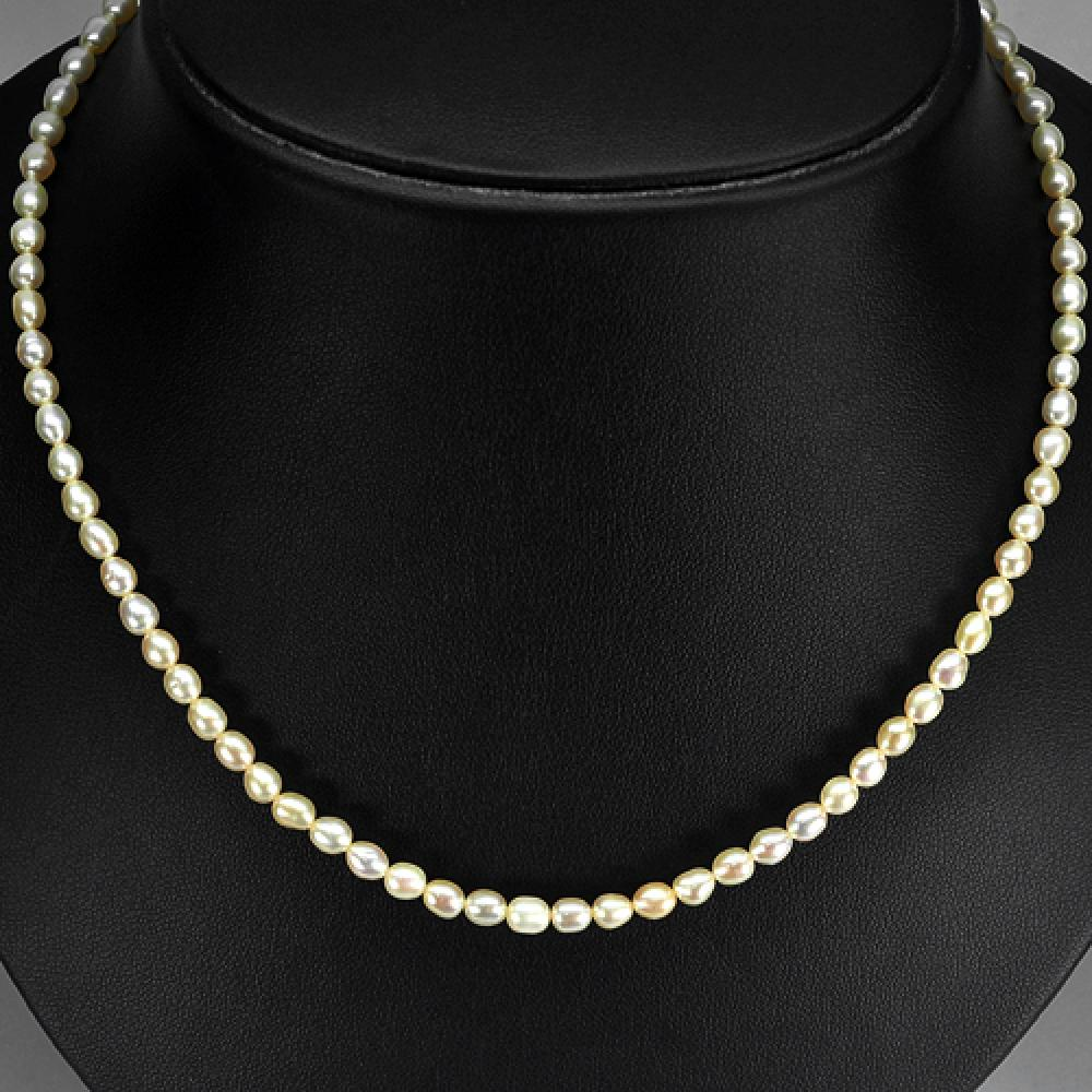 47.10 Ct. Fancy Cab Natural Cream Pink Pearl Beads Strand Length 14 Inch.