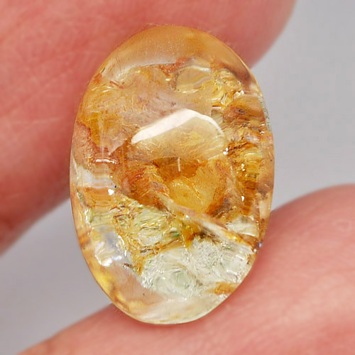 Unheated 10.12 Ct. Oval Cabochon 17x12x7 Mm. Natural Gem Brown White Moss Quartz
