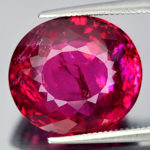 12.84 Ct. Oval Shape 15 x 13.4 Mm. Natural Gem Reddish Pink Rubellite Unheated