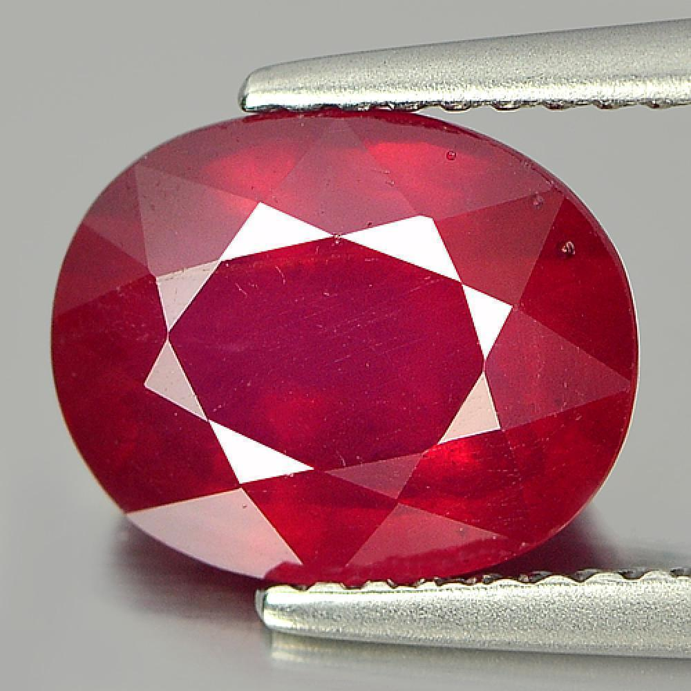 3.59 Ct. Charming Oval Shape Natural Gem Purplish Red Ruby Mozambique