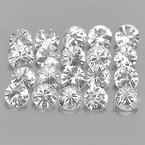 1.14 Ct. 20 Pcs. Round Diamond Cut Natural Gemstones White Sapphire
