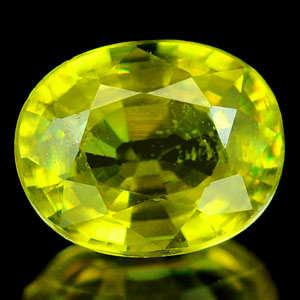 0.47 Ct. Natural Gemstone Intense Green Titanium Sphene Red Spark Oval Shape