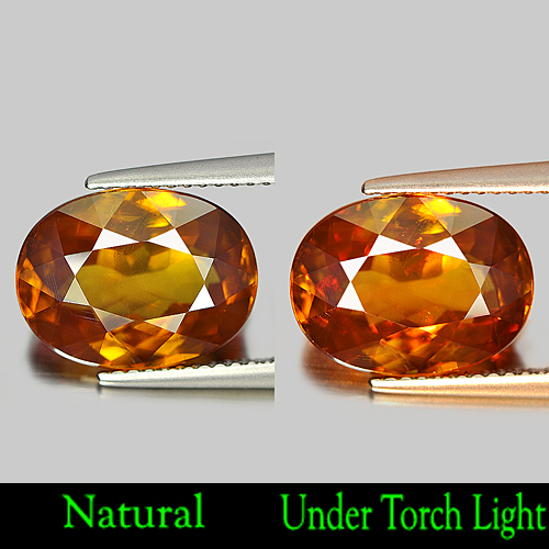 6.36 Ct. Natural Gem Multi Color Titanium Sphene With Rainbow Spark Oval Shape
