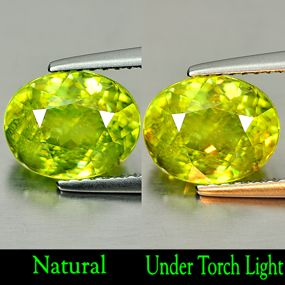 2.76 Ct. Good Gemstone Oval Natural Green Titanium Sphene With Rainbow Spark