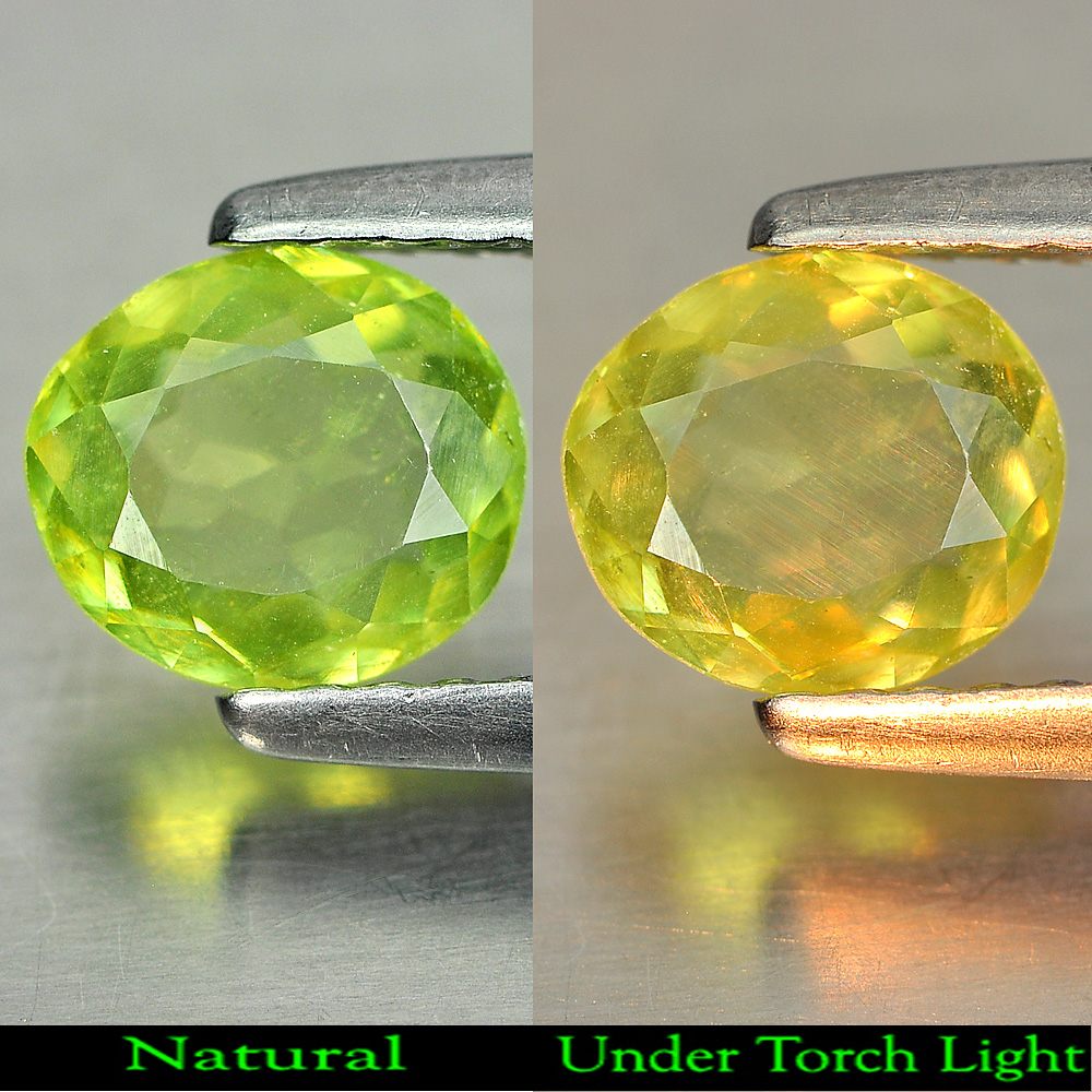 0.71 Ct. Natural Gemstone Green Titanium Sphene With Rainbow Spark Oval Shape