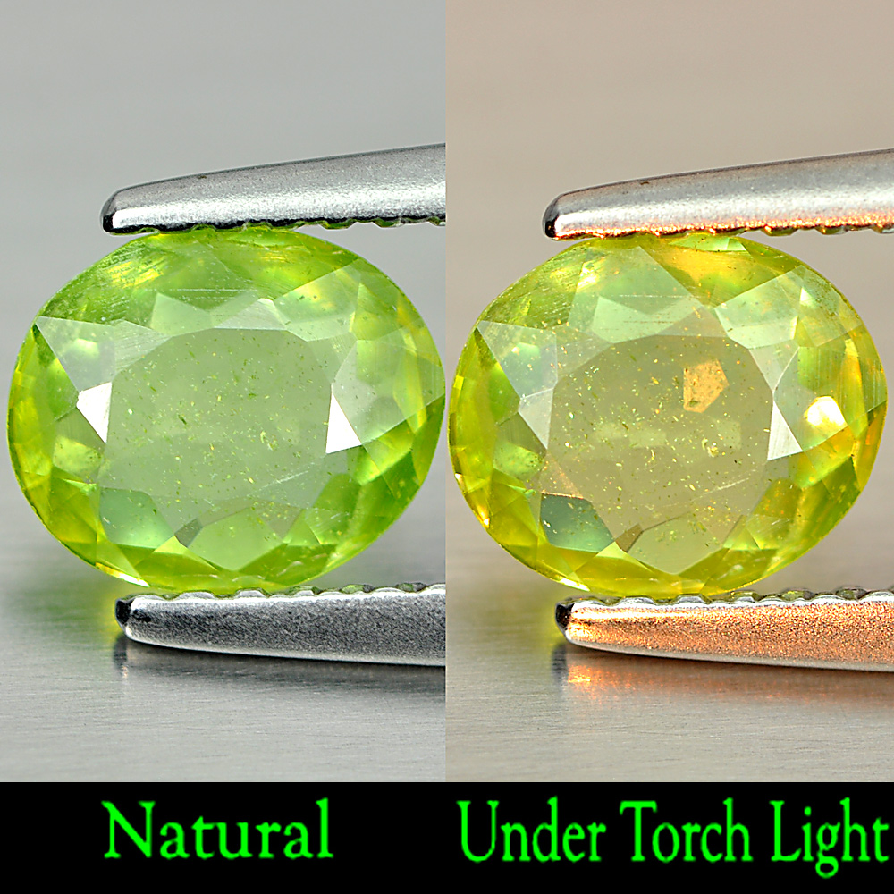 0.69 Ct. Shinning Natural Green Titanium Sphene With Rainbow Spark Oval Shape
