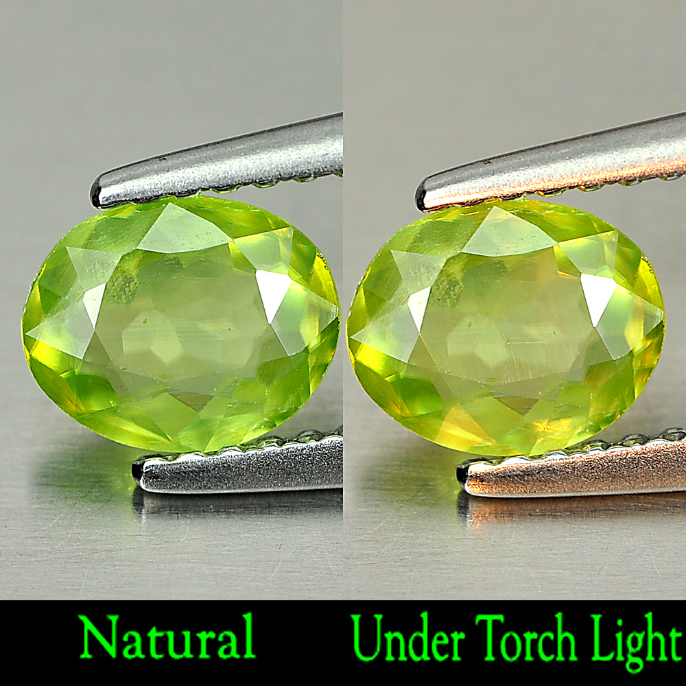 0.69 Ct. Charming Natural Green Titanium Sphene With Rainbow Spark Oval Shape