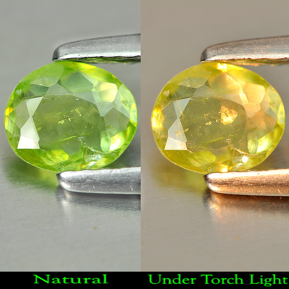 0.43 Ct. Oval Shape Natural Gemstone Green Titanium Sphene With Rainbow Spark