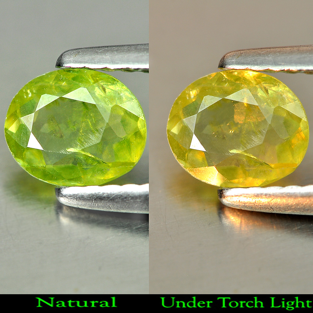 0.53 Ct. Charming Gemstone Oval Natural Green Titanium Sphene With Rainbow Spark