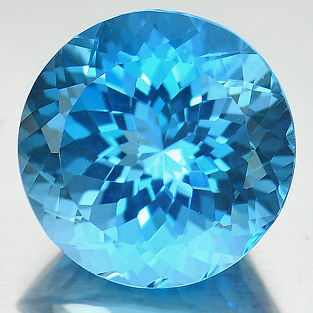 14.45 Ct. Good Cutting Round Cornflower Cut Natural Swiss Blue Topaz Gem Brazil