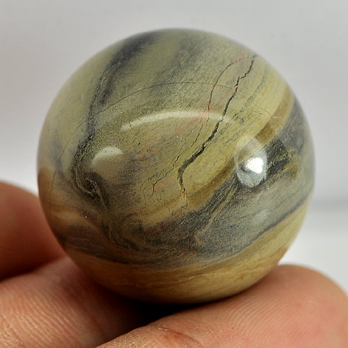130.25 Ct. Round Cabochon Natural Picture Jasper Gemstone