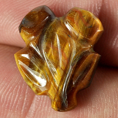 10.51 Ct. Carving Leaves Natural Golden Tiger Eye Unheated