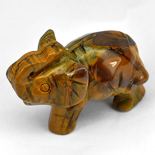 160.51 Ct. Alluring Elephant Carving Natural Golden Tiger Eye Thailand