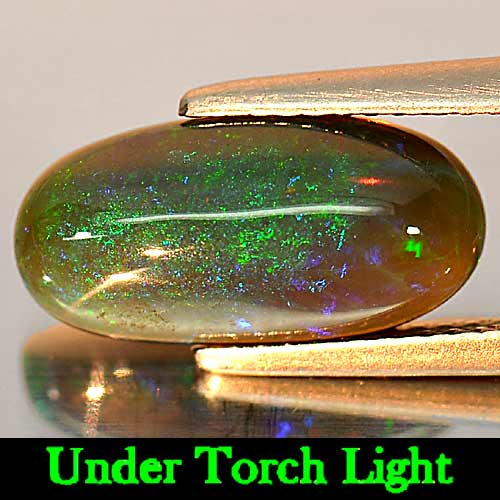 Natural Gem 2.53 Ct. Oval Cab Play Of Color Rainbow Fire Red Black Opal